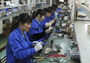 Workers in a Chinese Hi Tech Manufacturing plant